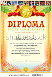 sport achievement diploma template colorful sport stock vector  sport achievement diploma template colorful sport icons row at the top composition of the