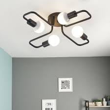 multiple rod wrought iron ceiling lamp