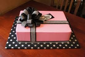 black fondant sheets pink buttercream gift box birthday sheet cake with black bewjeweled