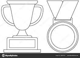 Lijn Kunst Zwart Wit Winnaar Beker Medaille Pictogrammenset Idee