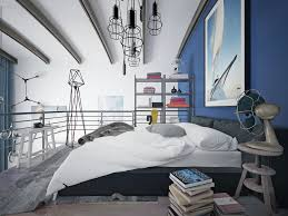 contemporary attic bedroom ideas displaying cool. Modern Loft Bedroom Blue Theme Contemporary Attic Ideas Displaying Cool