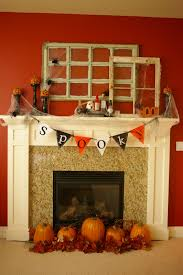 ... Divine Images Of Halloween Mantel Decoration For Your Inspiration :  Astounding Fireplace Decoration Using Vintage Window ...