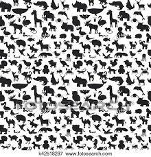 別 動物 シルエット Seamless Pattern かわいい 背景 クリップアート