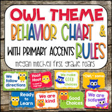 Owl Theme Classroom Behavior Chart Rules With Primary Colors