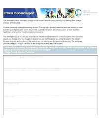 Critical Incident Review Template Sample Incident Report Form Free