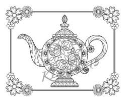 Small Picture Tulip teapot Coloring page Instant Download Relax Mandala