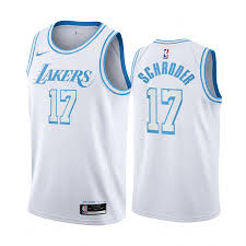 This is what fans want!! Dennis Schroder Los Angeles Lakers 2020 21 White City Edition Jersey Blue Silver Logo Gift4u Store