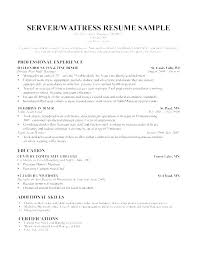 Cocktail Server Resume Sample Magnificent Server Resume Objective Server Objective Resume Food Service Resumes