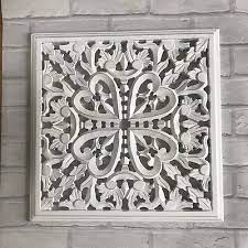 indian chic decorative carved white
