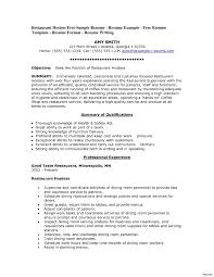 Resume Cover Letter Format Cover Letter Sample Resume For Restaurant Server Templates Letters 85