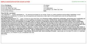 Associate Editor Job Cover Letter