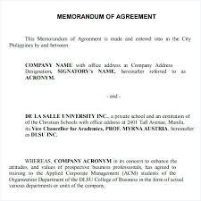 Memorandum Sample 2 What Is Memorandum Of Understanding Partnership Agreement Sample