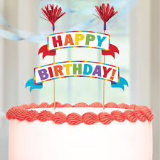 Multicolor Happy Birthday Banner Cake Topper 9in X 10in Party City