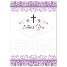 First Communion Thank You Cards With Purple Ornate Damask Borders And Elegant Cross