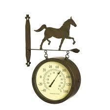 wall clock and thermometer 2 sided outdoor 8 wall clock and thermometer with horse icon wall