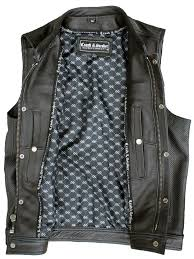 perforated leather vest open