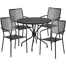 35 25 round black indoor outdoor steel patio table set with 4 square back chairs
