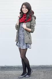 casual work attire skater dress and parka jacket