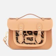 the cambridge satchel company women s the mini satchel honey matte leopard clothing thehut com
