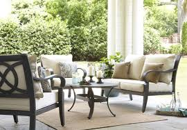 Decorating Loveseat With Red Lowes Patio Cushions Plus Table For