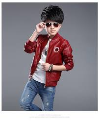the children wear british style leather collar coat big boy outerwear leather jacket children spring and