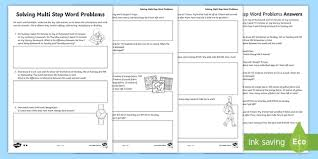solving multi step word problems activity