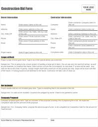 Contractor Proposal Template Construction Bid Form