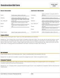 free estimate forms templates construction bid form