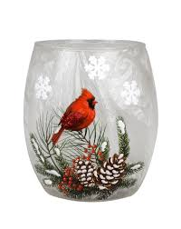 3 X3 Evergreen Cardinals Light Up Glass Vase