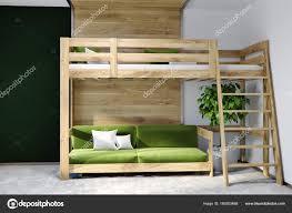 Schwarze Wand Schlafzimmer Innenraum Hochbett Grün Stockfoto