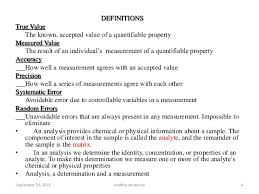 quality control assurance in analytical chemistry  2015 andhra university 4 definitions true value