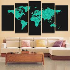 modular canvas painting on canvas art home decorative wall painting 5 panels world map wall picture on world map wall art with photo frames with modular canvas painting on canvas art home decorative wall painting