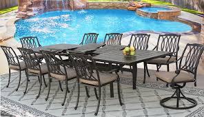 san marcos cast aluminum outdoor patio 11pc set 44x130 rect extend dining table series 4000 with sunbrella sesame linen cushion