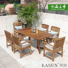 get ations leisching ln wood outdoor furniture teak wood patio garden outdoor garden table and six chairs bination