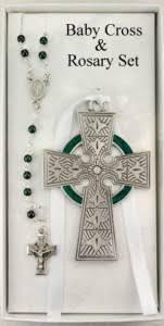 irish baby cross with baby rosary set rbs016