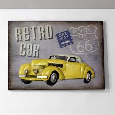 yellow retro car in metal wall art sculpture wall decor and hanging regarding 2017 car metal