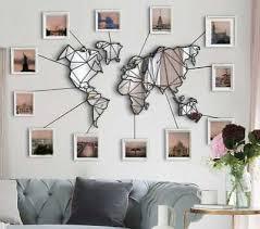 mirror world map metal wall art mirror