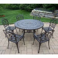 oakland living berkley 7 piece aged patio set with 54 round table and 6 cushioned