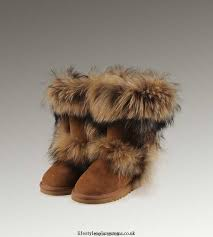 UGG Fox Fur Tall 5369 Black Boots IU076584 5064-S