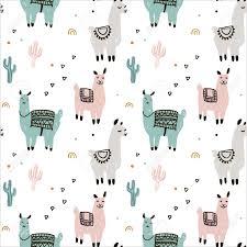 Cartoon Llama Alpaca Seamless Pattern ...