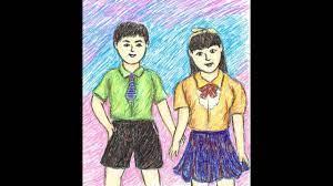Hướng dẫn vẽ chân dung bé trai và bé gái - YouTube