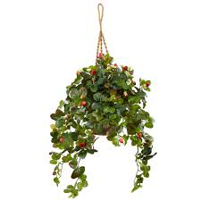 bring the feeling of summer indoors all year round with this faux hanging strawberry bush in