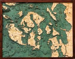 Bathymetric Map Of The San Juan Islands Carved Lake Art