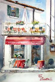 cafe in monte baldo watercolor of italy