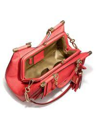 Lyst - Coach Madison Pinnacle Carrie Satchel in Textured Leather in Red