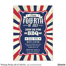 4th of july patriotic bbq invitations retro invites