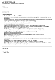 Operations Manager Resume Sample Operations Manager Resume Sample Velvet Jobs