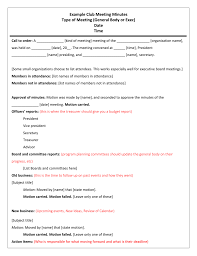 Example Of Any Minutes A Meeting Agenda And Pdf Sample Taken