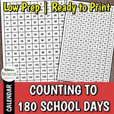 Counting To 180 Days Of School Chart
