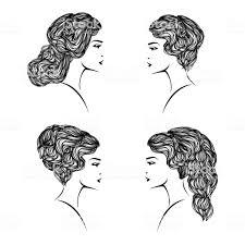 4 さまざまなヘアスタイルとイラストの髪サロン セット おだんごヘアの
